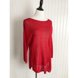 J. Jill Red Linen Blend Sweater Size XL